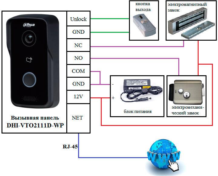 Схема подключения вызывной панели DHI-VTO2111D-WP